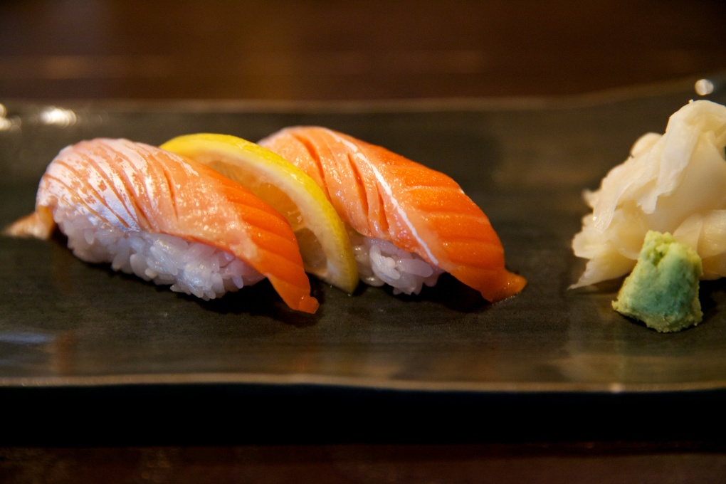Copper river salmon nigiri