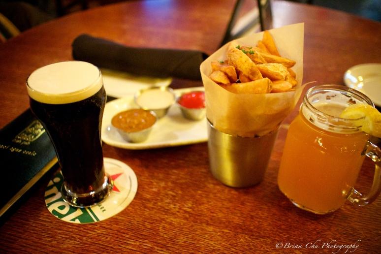 Half pint of Guinness, fresh chips, and a Widmer Hefeweizen