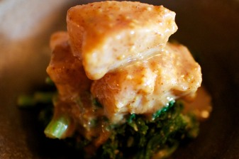 Washington albacore tuna with almond wasabi dressing, served with mustard greens (gluten free, sustainable)