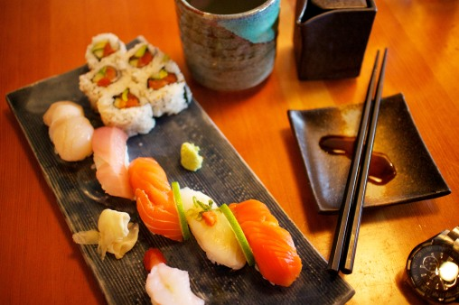 Chef's choice omakase nigiri and roll: Sockeye salmon, hamchi (yellowtail), king salmon belly, WA albacore tuna, scallop, local spot prawn, Seattle roll (salmon, avocado, cucumber, tobiko)